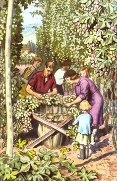 "Hop-picking. (from vintage English ""Ladybird"" storybooks)"