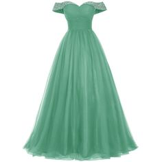 Bridesmay Long Tulle Prom Dress Beaded Off Shoulder Evening Gown... (1.148.725 IDR) ❤ liked on Polyvore featuring dresses, long homecoming dresses, green prom dresses, off shoulder long dress, off the shoulder homecoming dress and off the shoulder prom dresses