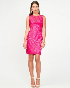 Lace Shift Dress - Slip into a lace shift dress for a seductive night-out look. Bridesmaid Dresses, Prom Dresses, Formal Dresses, Contemporary Fashion, Pink Lace, Latest Fashion Trends, Everyday Fashion, Turquoise, Evening Dresses