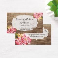 Lipstick distributor zebra kiss lips loyalty punch business card rustic wood painted pink flower country blossom business card reheart Image collections