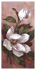 Magnolia Accents II Barbara Mock white magnolias floral art print 13x25 poster