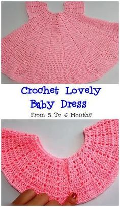 Crochet Lovely Baby Dress From 3 To 6 Months We Love Crochet Baby Dress Patterns Baby Crochet Dress Love Lovely Months Crochet Baby Dress Pattern, Baby Dress Patterns, Baby Girl Crochet, Crochet Baby Clothes, Crochet For Kids, Crochet Patterns, Crochet Dresses, Knitting Patterns, Crochet Dress Girl