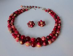 Mid Century Pomegranate Color Beaded Necklace and  Earrings Set. 2 strands. Demi Parure by Cosasraras on Etsy