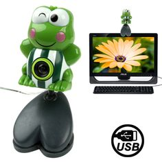 USB 2.0 Cartoon Green Frog Style 0.48 Mega Pixels Driverless PC Camera / Webcam, Cable Length: 1.2m