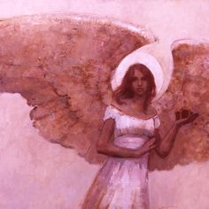 Kirk Richards, Angel with a Gift, monochromatic painting