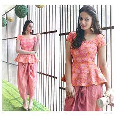 peplum kurta and dhoti set India Fashion, Ethnic Fashion, Women's Fashion, Crop Top Designs, Blouse Designs, Indian Attire, Indian Wear, Pakistani Outfits, Indian Outfits