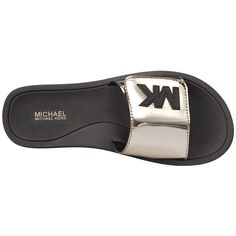 MICHAEL Michael Kors MK Slide (Nickel Mirror Metallic) Women's Sandals ($49) ❤ liked on Polyvore featuring shoes, sandals, open toe shoes, synthetic shoes, michael michael kors sandals, nickels shoes and metallic sandals