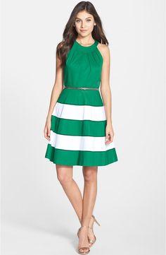 Eliza J Stripe Sateen Fit & Flare Dress | Nordstrom