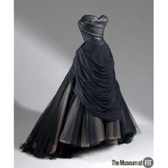 c. 1954-55 Charles James USA ballgown of black silk chiffon, silk satin, netting and boning. The Museum at FIT - Online Collections