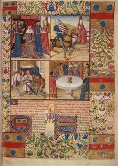 Beautiful page.   Roman du Chevalier Tristan et de la reine Yseult (écrit par Gassien de Poitiers)  Page de garde du troisième volume, armes de Jean du Mas. Comment la veille de la Pentecôte le Roi Arthur devait...