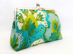 Clutch Purse Green and Turquoise floral print by TheHeartLabel, £28.95