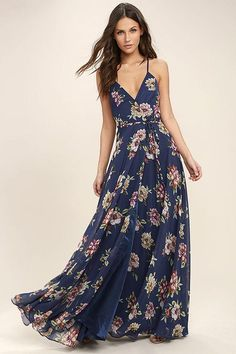 21992fe71191  Lulus -  Lulus Always There For Me Navy Blue Floral Print Wrap Maxi Dress