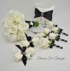 Black And White Artificial Flowers