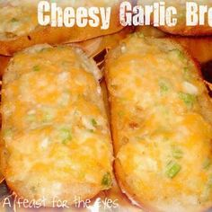 Pioneer Woman's Garlic Cheese Bread. Minus the green onions for me but I love the mayo as a binder for the cheeses. Yum.