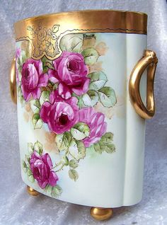 Exquisite 12-7/8 H Co. Selb Bavaria 1900's Hand Painted Vibrant Red Roses Floral Cache Pot, Artist Signed Donath Signed Frank Edward Donath was born