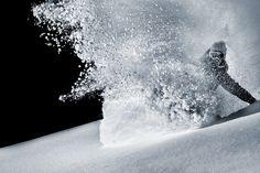 Torah Bright. Face shot. Kaprun. Photo: Matt Georges. #snowboard #blackandwhite #powder