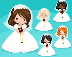 First Communion Clipart for Girls. Communion characters, graphics, bible, rosary, veil. First Communion Graphics, religious illustrations