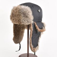 f26cef4fa14 Men Winter Hat Women Real Rabbit Fur Ear Cap Ski Warm Cap Unisex Bomber Fur  Hat