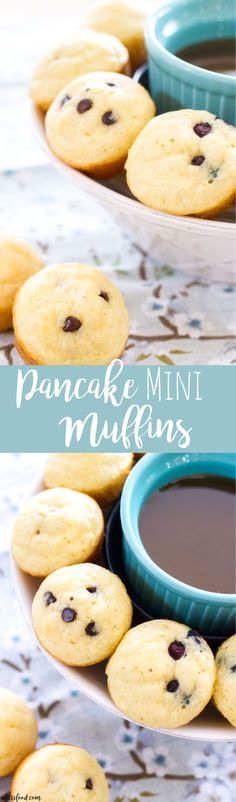 These easy homemade Pancake Mini Muffins are the perfect on-the-go breakfast recipe! They have a basic pancake base, and can be filled with blueberries, chocolate chips, and anything else you desire! Breakfast is the most Healthy Make Ahead Breakfast, Sweet Breakfast, Breakfast Recipes, Breakfast Ideas, Blueberry Breakfast, Second Breakfast, Breakfast Dishes, Chocolate Chip Pancakes, Mini Chocolate Chips