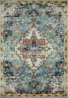 Distressed detail adds to the vintage-inspired look of this Loloi II Nadia floral medallion rug, making it the perfect choice for your living room or bedroom. Rug Studio, Boho Living Room, Living Area, Living Spaces, Oriental Pattern, Large Rugs, Room Rugs, Bohemian Decor, Bohemian Interior