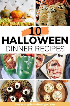 10 Halloween themed main dishes that are guaranteed to add some spooky fun to your dinner table! These Halloween dinner ideas are easy to make and feature family friendly recipes that both kids and adults will love. These spooky recipes would also be fun Halloween party food! | www.mapleandmango.com Dinner Dishes, Food Dishes, Main Dishes, Dinner Recipes, Dinner Table, Dinner Ideas, Halloween Dinner, Halloween Food For Party, Best Low Carb Bread
