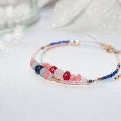 Bracelet multirang pierres fines et plaqué or gold filled