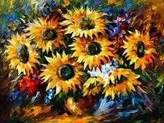 flower-paint Leonid Afremov, oil on canvas,