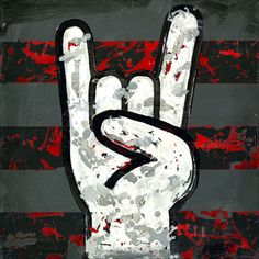 rock+and+roll+art | Rock and Roll Hands Wall Canvas Art - Wall Sticker Outlet