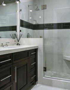 Small bathroom idea. Minus the black stripe....