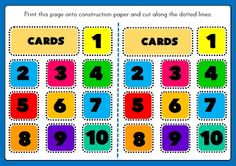 NUMBERS 1-10 BOARD GAME PICTURE CARDS http://eslchallenge.weebly.com/english-yes-1.html