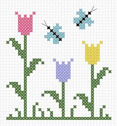 Uma seleção de gráficos de flores em ponto cruz bem fáceis de bordar: