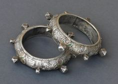 Pair of Berber bracelets in silver and enamel, from the Tiznit or Tafraout region of Morocco