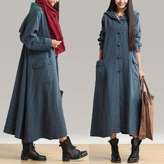 Three colors autumn linen dress casual looser by Lemontree2013
