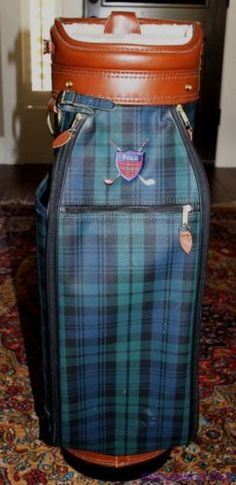 Polo-Ralph-Lauren-Blackwatch-Plaid-Leather-Trim-Luxury-Lined-Golf-Bag Plaid And Leather, Leather Bags, Golf Party, Carry On Bag, Golf Bags, Golf Clubs, Tartan, Lunch Box, Polo Ralph Lauren