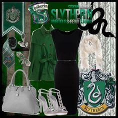 Slytherin., created by keniacoronado on Polyvore Harry Potter Dress Up, Harry Potter Outfits, Slytherin Clothes, Movie Inspired Outfits, Fandom Fashion, Disney Dresses, Snakes, Geeks, Hogwarts