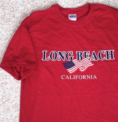 New Men/unisex Med LONG BEACH CALIFORNIA T-SHIRT Dark-Red American Flag CA Cali #Gildan #GraphicTee