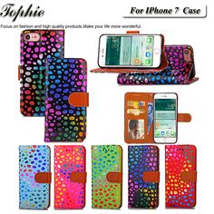 Luxury Book Style Colorful Polka Dot Pattern Wallet Phone Case For Apple iPhone 7 Phone Cover Card Holder Sexy Women Girl