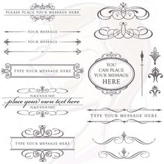 Calligraphy Vintage Clip Art Clipart CHARCOAL GREY DIY Wedding Invitation Scrapbooking Embellishment Text Dividers Oval Digital Frame 10152