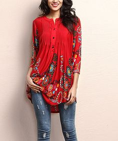 Reborn Collection Red Garden Notch Neck Pin Tuck Tunic | zulily