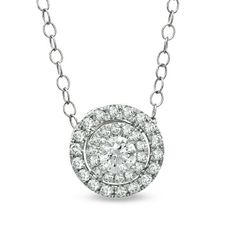 1/2 CT. T.W. Diamond Double Frame Pendant in 14K White Gold