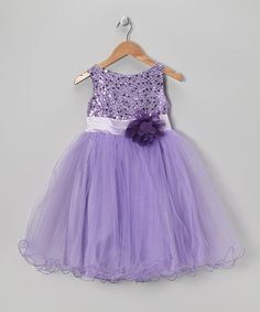 Take a look at this Lavender Sequin Sheer A-Line Dress - Toddler & Girls by Kid's Dream on #zulily today!