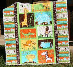 Jungle Baby Quilt, Gender Neutral Crib Bedding, Boy or Girl, Safari Animals, Monkey Giraffe Zebra Lion Tiger Elephant, Orange MADE To ORDER