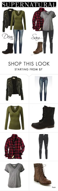 """Supernatural cosplay"" by payton-monsoon-manning ❤ liked on Polyvore featuring Armani Jeans, J.TOMSON, Charlotte Russe, Paige Denim, Nation LTD, Refresh, supernatural, samwinchester, DeanWinchester and cosplay"