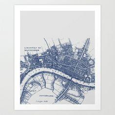map london blue Art Print by Gorgeous Graphic Design - $18.72