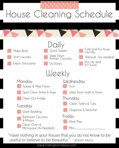 Basic Cleaning Schedule Checklist - printable