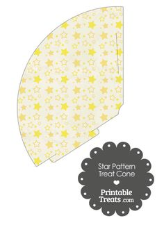 Vintage Yellow Star Pattern Treat Cone from PrintableTreats.com
