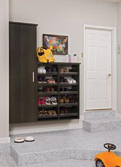 shoe rack http://www.houzz.com/ideabooks/27581684/list/7-Day-Plan--Get-a-Spotless--Beautifully-Organized-Garage