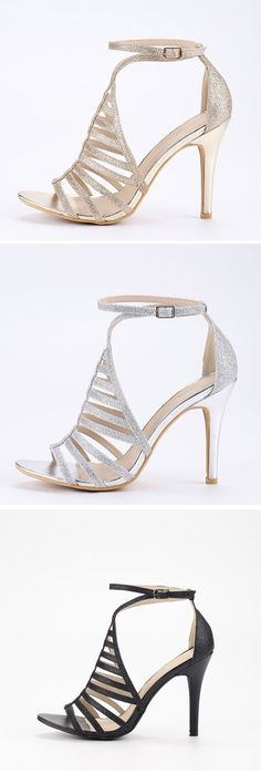 Black Glitter Caged Ankle Strap Pumps. Gorgeous sparkle high heels for  prom. Dreaming for 3e2f41a0e4