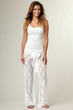 etam pyjama pyjama pilou femme, pentalon en dentelle blanc