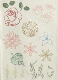 Brod'me :Planche  Fleurs pour customisation, 22 x 30 cm, Bergère de france